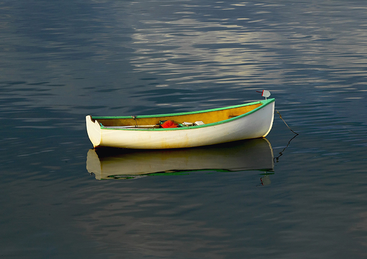 M205 - White Dinghy with Green Trim