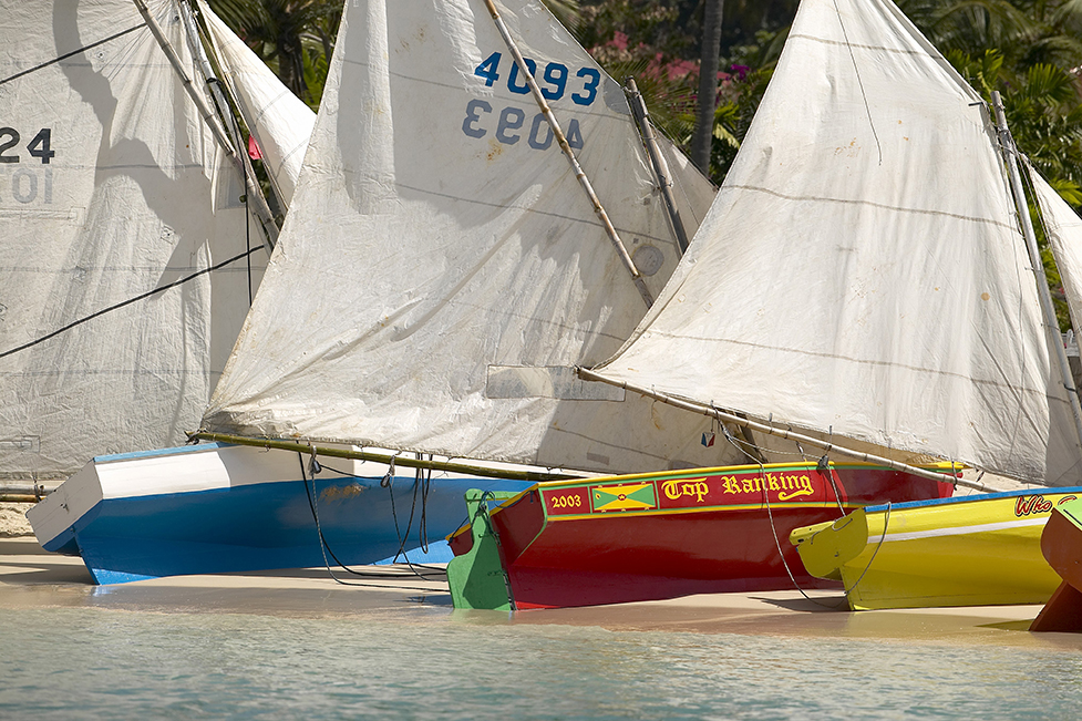G233 - Grenada Workboat with Sails on Beach