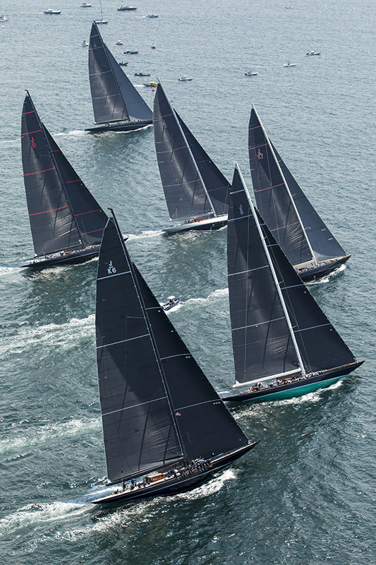 G448 - Aerial of Six J Class Yachts